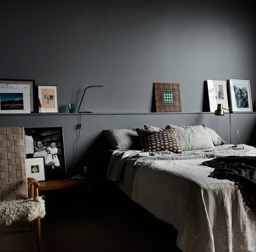 Chambre a coucher gris et noir avec des for Chambre noir et gris