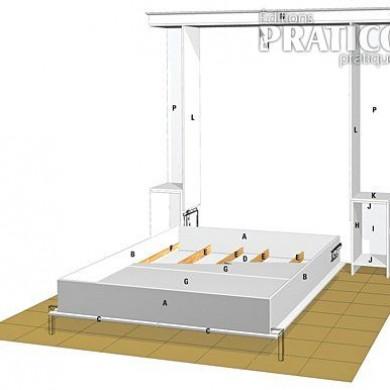 Fabriquer un lit escamotable en tapes d coration et - Fabriquer un lit en bois plan ...
