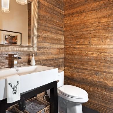 Du bois mur mur la salle de bain salle de bain for Mur de salle de bain en bois