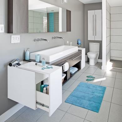 Salle de bain immacul e et moderne salle de bain for Salle de bain pratique