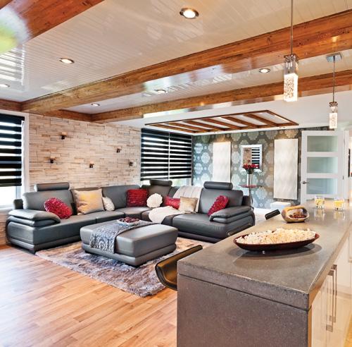 Aire ouverte au sous sol sous sol inspirations for Fausses poutres pour plafond