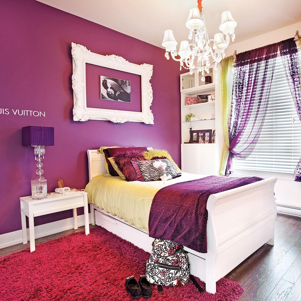 Chambre a coucher blanche et mauve - Chambre adulte violet ...
