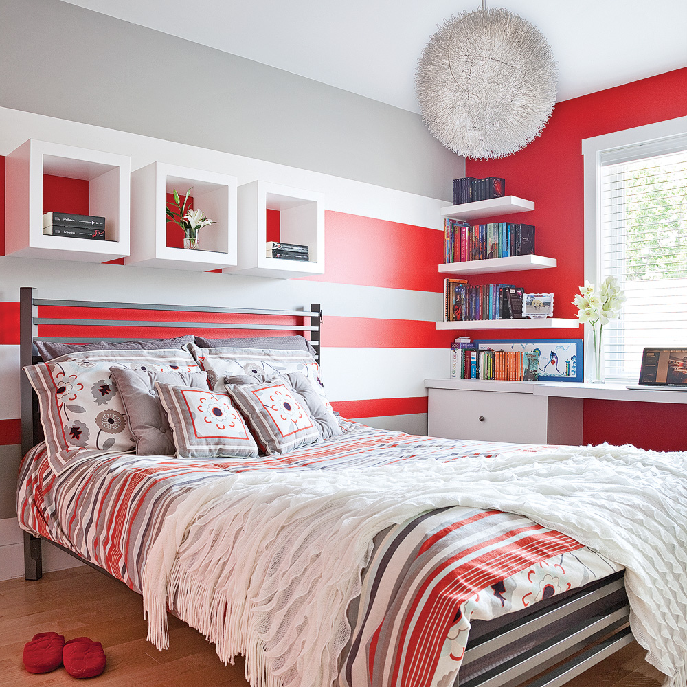 color zoning en rouge gris et blanc chambre inspirations d coration et r novation