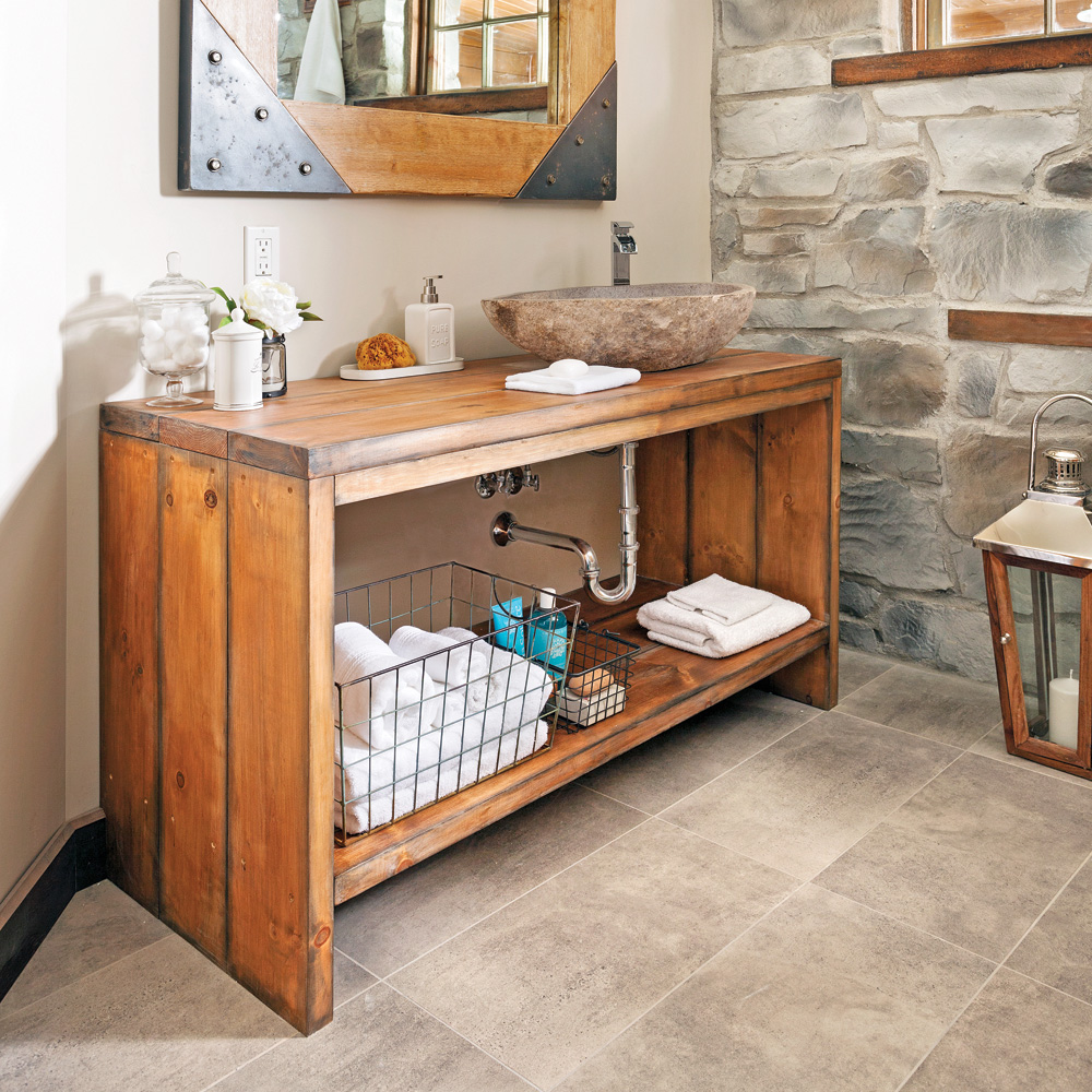 cr er un meuble lavabo en bois en tapes d coration et r novation pratico pratique. Black Bedroom Furniture Sets. Home Design Ideas