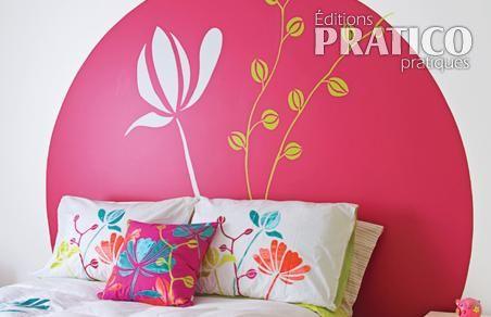 cr er une t te de lit fleurie en tapes d coration et. Black Bedroom Furniture Sets. Home Design Ideas