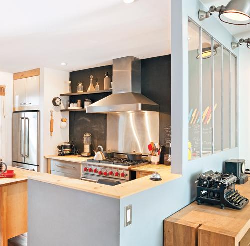 Peinture de cuisine cuisine rouge mur noir also peinture de cuisines - Deco industriel vintage ...