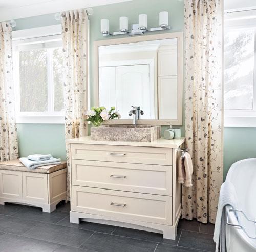 Douceur champ tre dans la salle de bain salle de bain for Meuble champetre