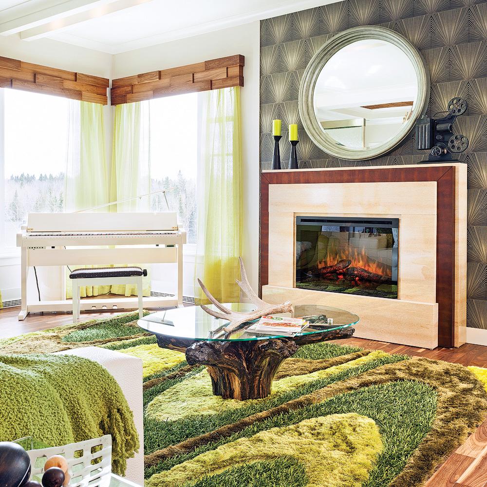 Foyer lectrique dans un salon clectique salon inspirations d coration - Decoration foyer salon ...