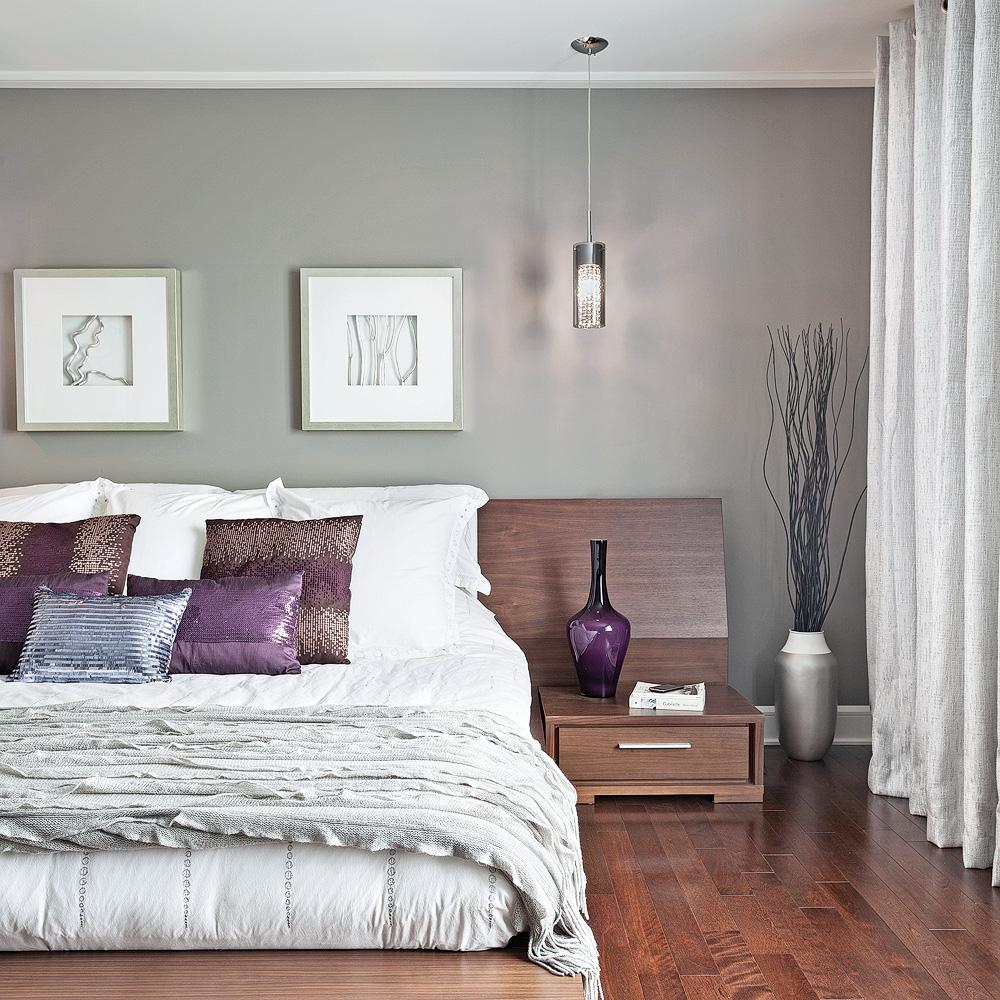 Deco chambre moderne gris id es de d coration et de for Deco chambre violet gris