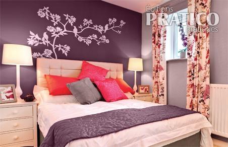 Chambre violet aubergine design de maison for Chambre couleur violet