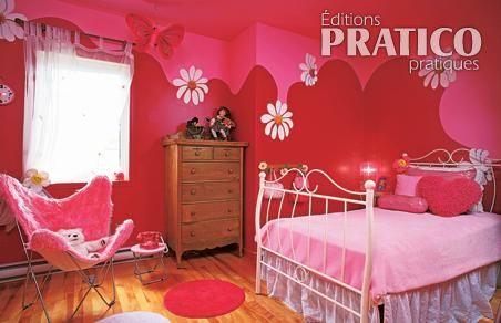 Profusion florale pour la chambre de fillette chambre - Decoration chambre fillette ...