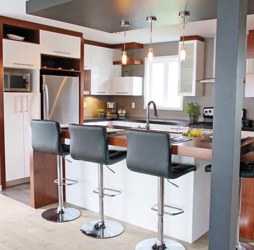 Armoires de cuisine armoires cuisine 2 tons along with - Cuisine avec comptoir ...