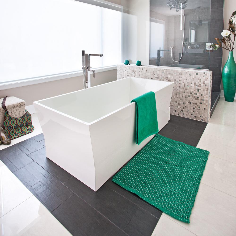 Deco salle de bain jaune et gris for Salle de bain chambre ouverte