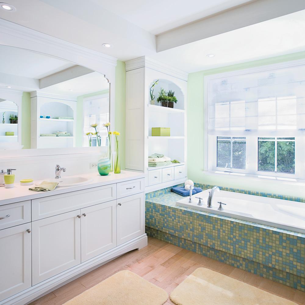 salle de bain blanche et verte. Black Bedroom Furniture Sets. Home Design Ideas
