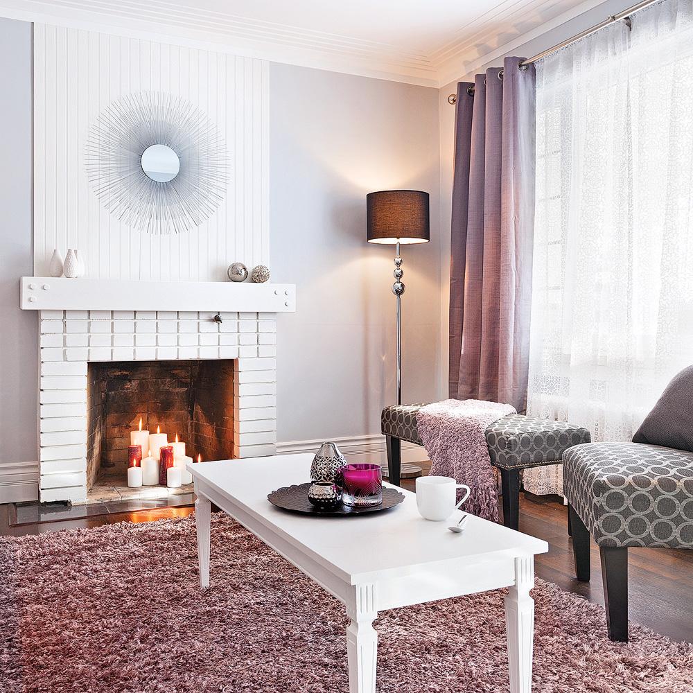 Salon glamour en violet pastel salon inspirations - Decoration salon violet ...