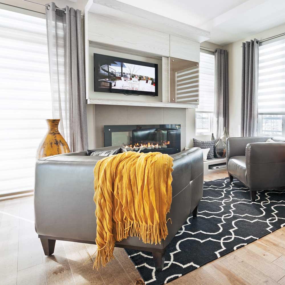 Un salon actuel et chaleureux salon inspirations for Salon chaleureux