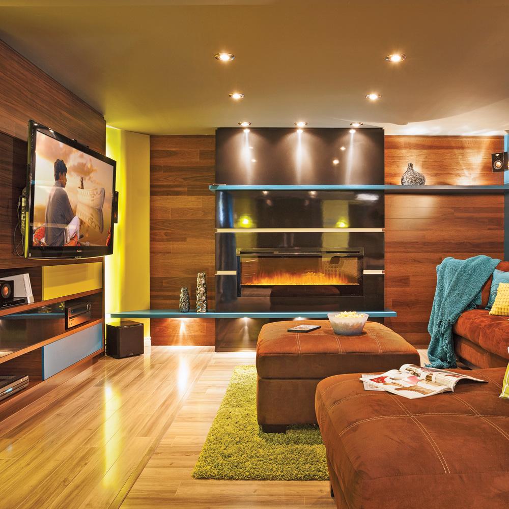 un sous sol aux coloris vifs et bois chaleureux sous sol. Black Bedroom Furniture Sets. Home Design Ideas