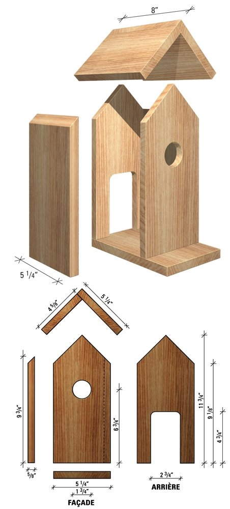 plan maisonnette en bois pour oiseaux. Black Bedroom Furniture Sets. Home Design Ideas