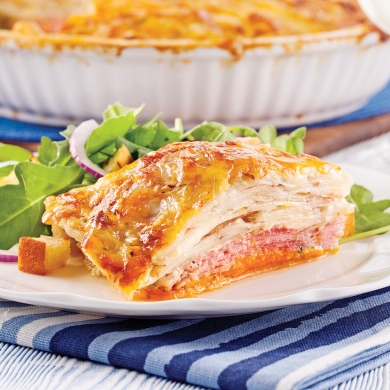 Gratin dauphinois aux deux pommes de terre et jambon recettes cuisine et nutrition pratico - Gratin de pomme de terre jambon ...