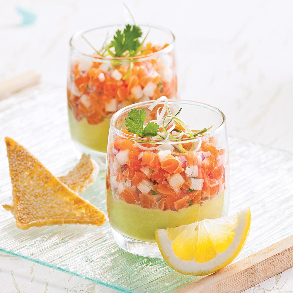 Tartare de saumon l 39 asiatique en verrine recettes for Cuisine 5 15