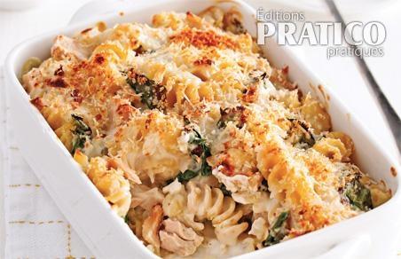 casserole de p 226 tes au thon et 233 pinards recettes cuisine et nutrition pratico pratique