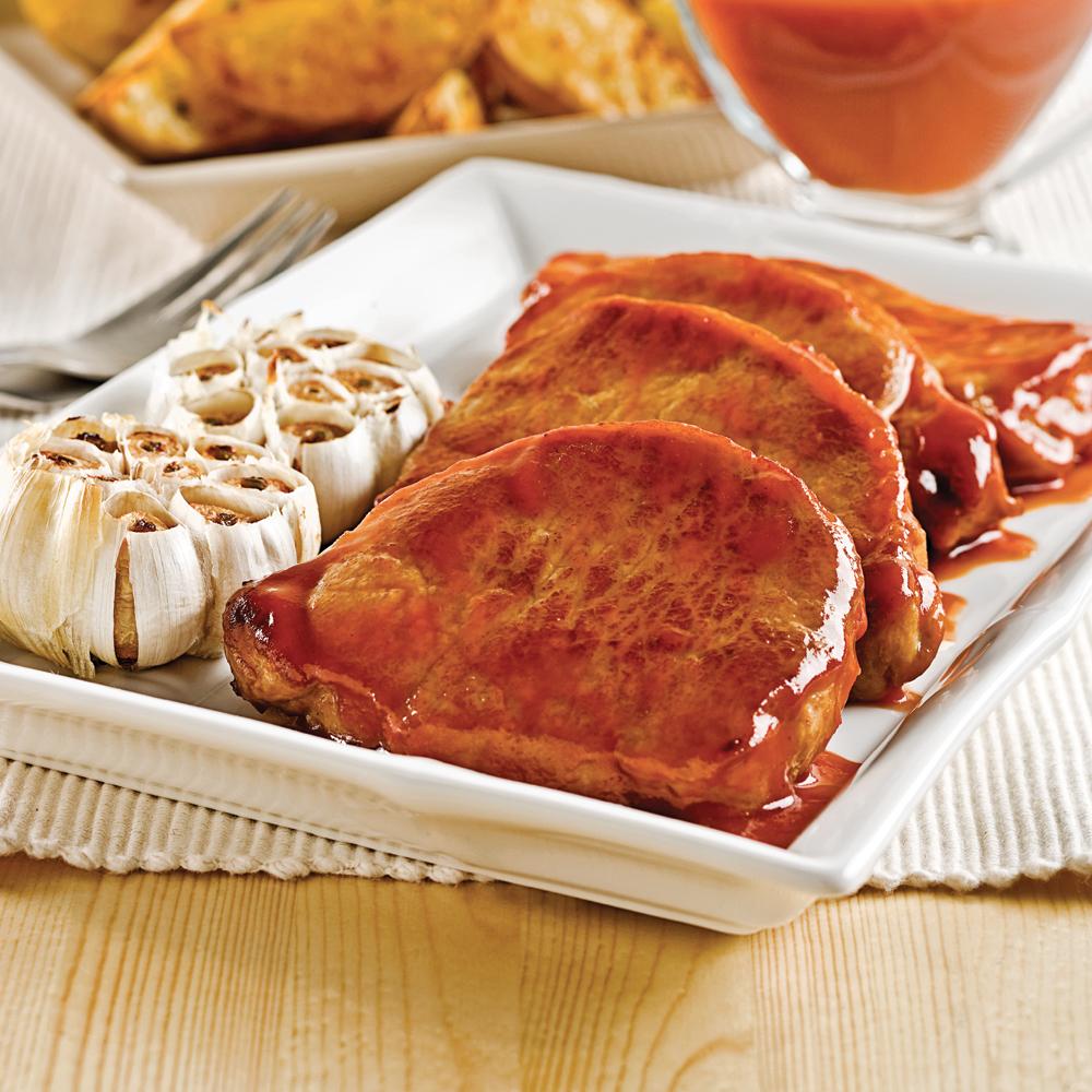 C telettes de porc l 39 rable et l 39 ail recettes cuisine et nutrition pratico pratique - Paupiette de porc a la poele ...