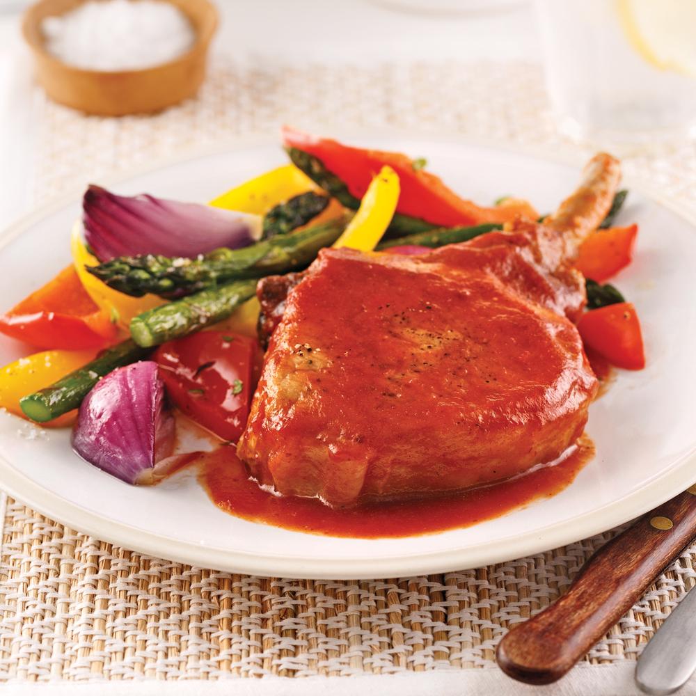 C telettes de porc barbecue et rable recettes cuisine - Cuisiner rognons de porc ...