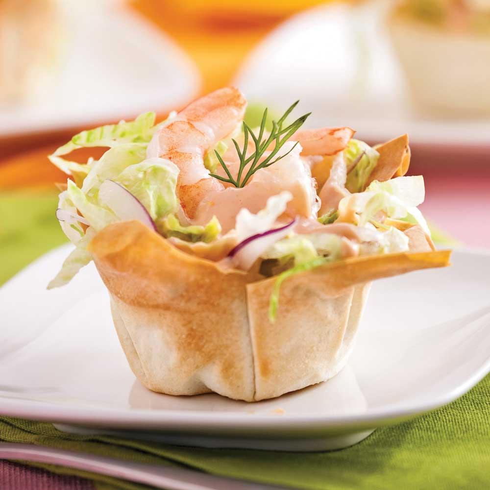 Coupelles de crevettes en salade entr es et soupes for Idee entree rapide et originale
