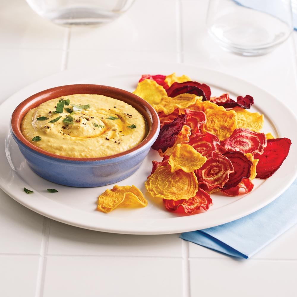 Croustilles de betteraves color es et trempette de pois - Cuisiner les pois chiches ...