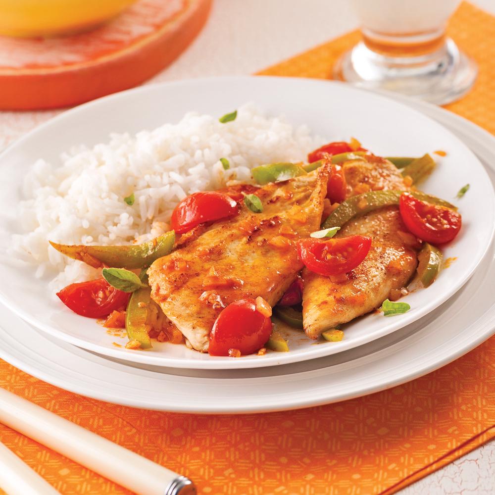 escalopes de poulet la portugaise recettes cuisine et nutrition pratico pratique. Black Bedroom Furniture Sets. Home Design Ideas