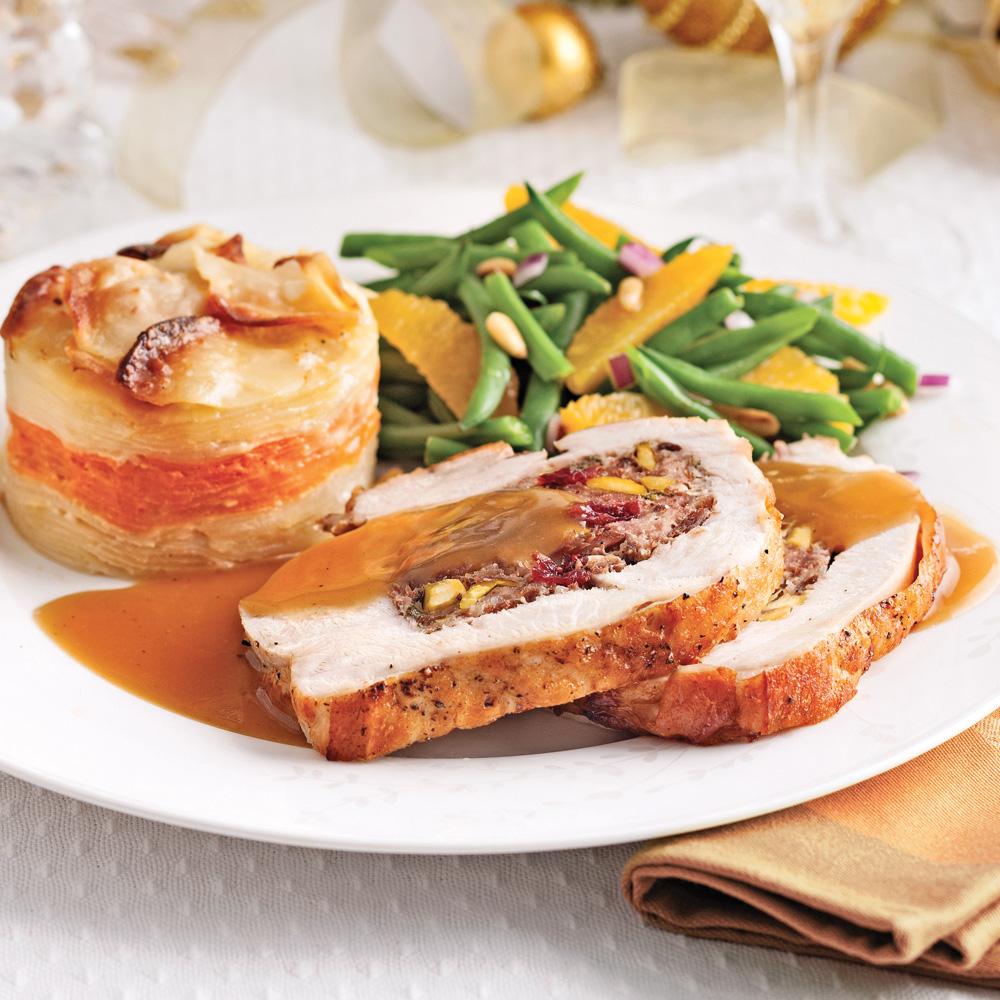 Poitrines de dinde farcies aux pistaches et canneberges sauce l 39 orange recettes cuisine - Farce pour dinde noel ...