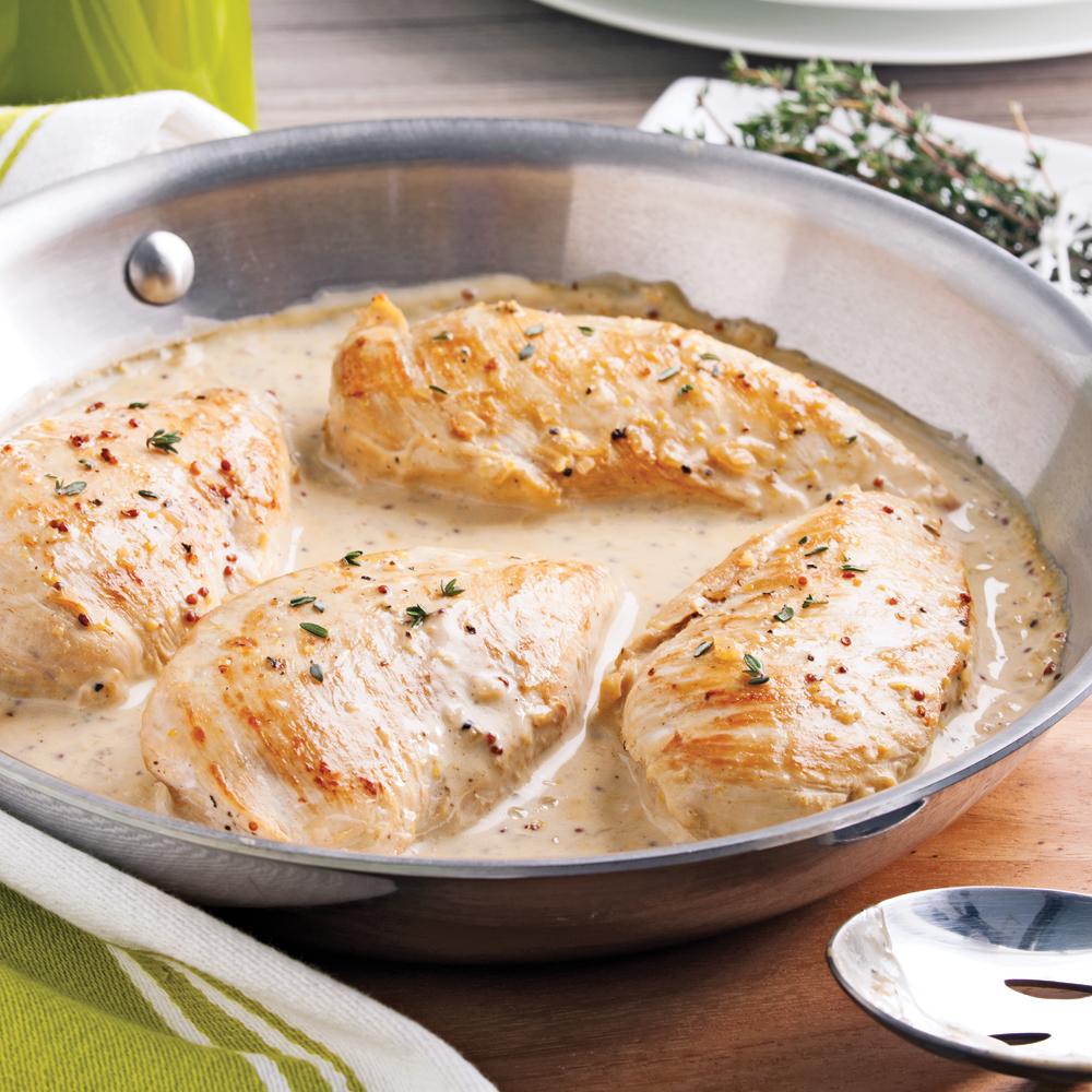 Poitrines de poulet cr me d 39 rable et moutarde recettes cuisine et nutrition pratico pratique - Cuisine moutarde ...