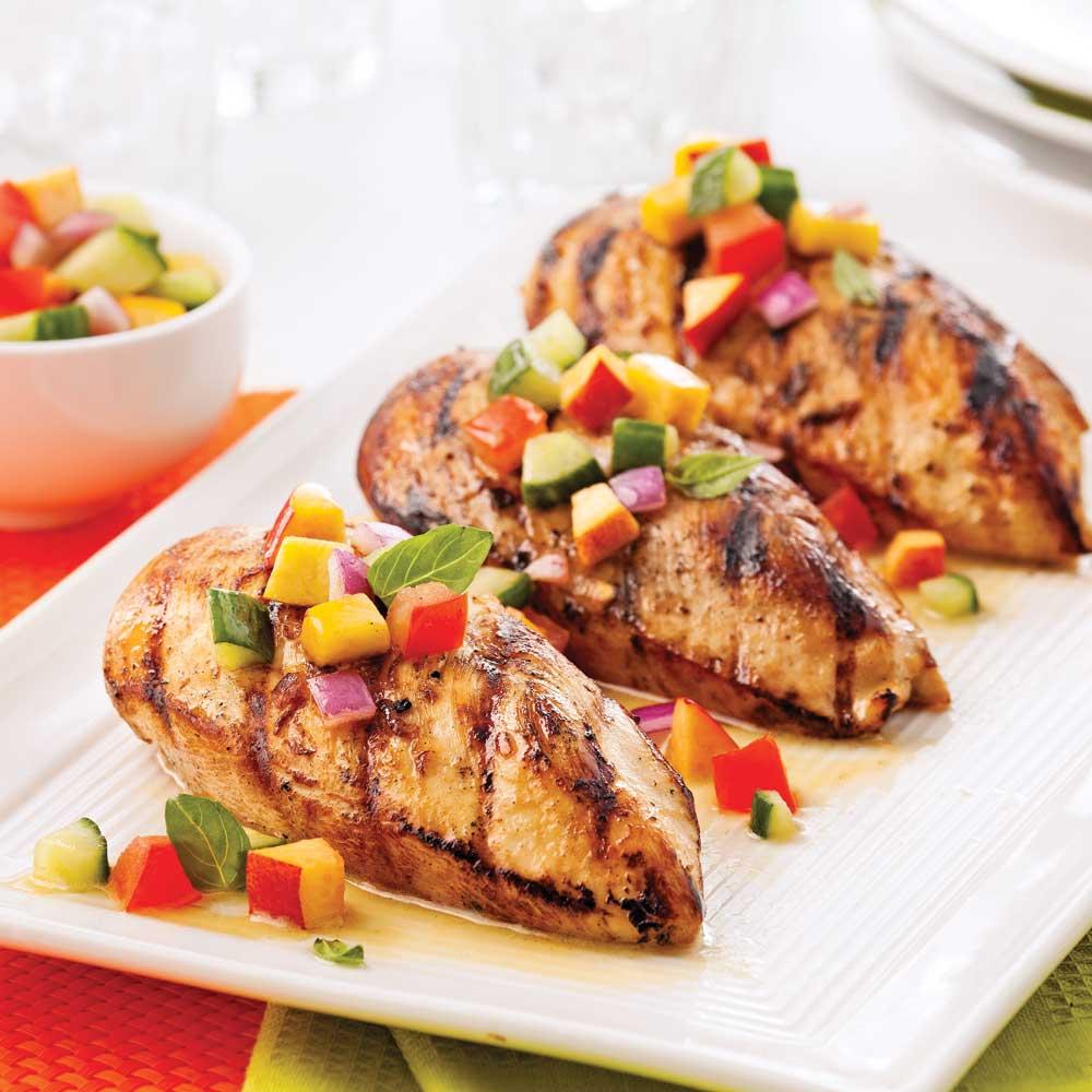 Poulet grill salsa fra che de nectarine et basilic - Recette salade cesar au poulet grille ...