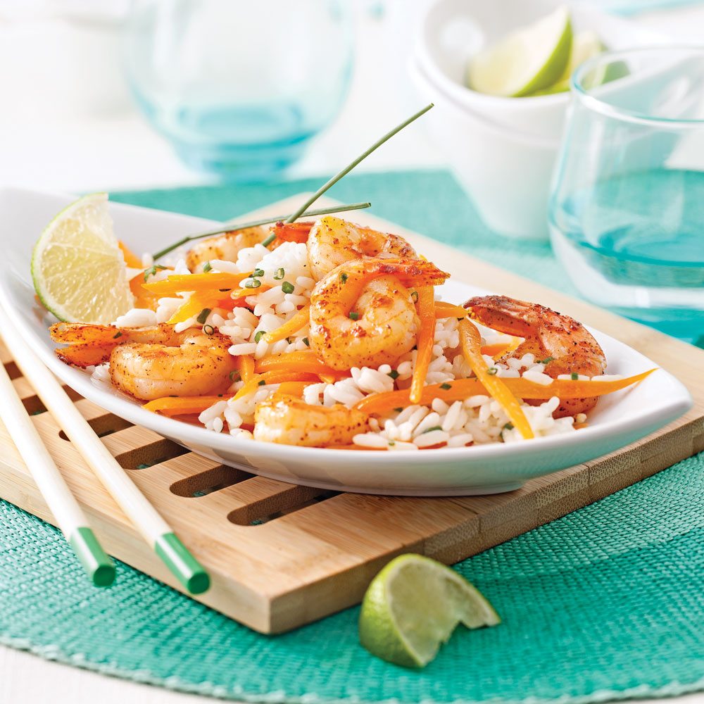 Salade repas aux crevettes riz et lait de coco recettes cuisine et nutrition pratico pratique - Riz lait de coco ...