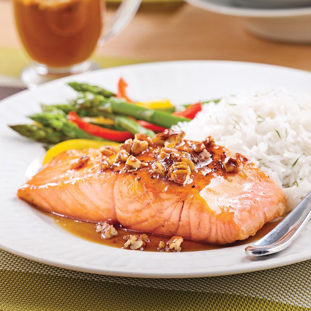 saumon simplissime rable et pacanes recettes cuisine et nutrition pratico pratique. Black Bedroom Furniture Sets. Home Design Ideas