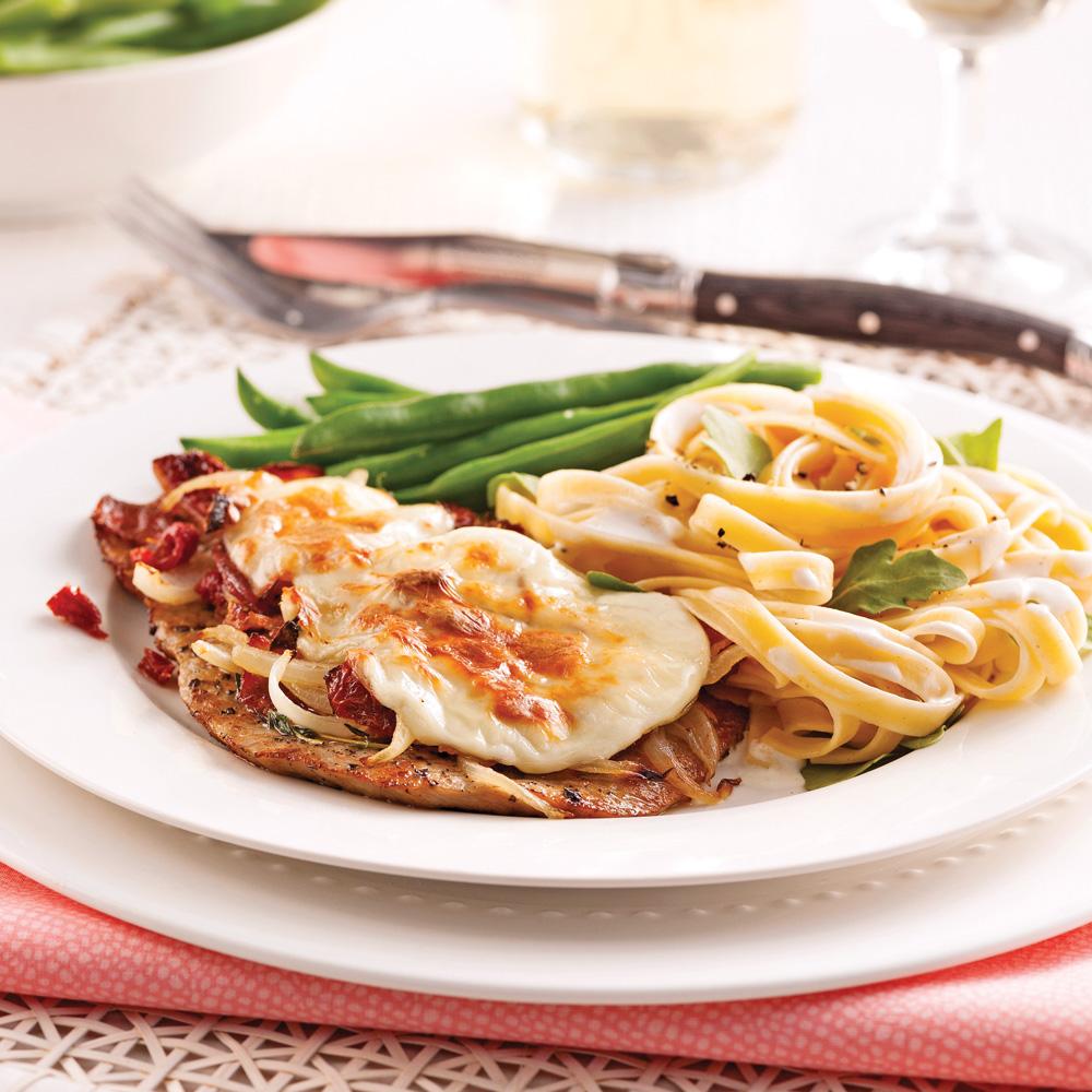 Escalopes de veau aux tomates s ch es et fromage fondu for Plat pour recevoir amis