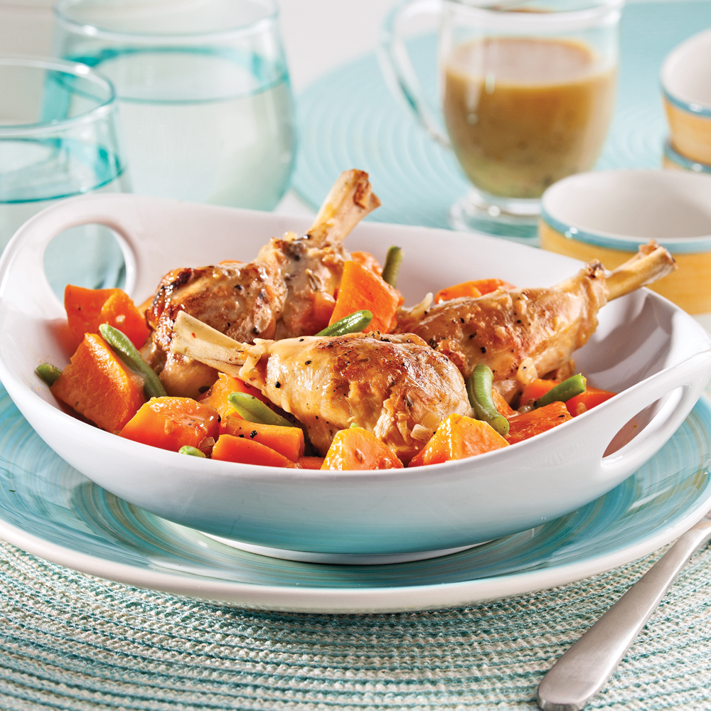 Casserole de pilons de poulet haricots verts et patates douces soupers de semaine recettes - Recette poulet patate douce ...