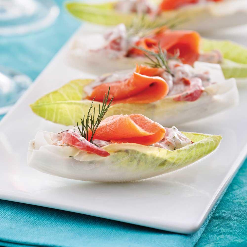 Endives farcies au saumon fum entr es et soupes for Entree froide chic