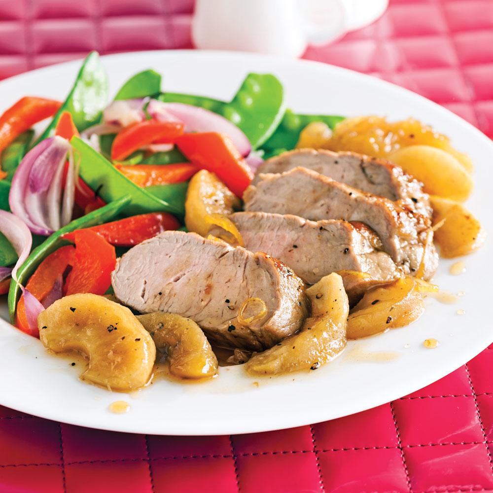 Filet de porc caram lis aux pommes pour recevoir recettes 5 15 recettes express 5 15 - Recette plat gastronomique ...