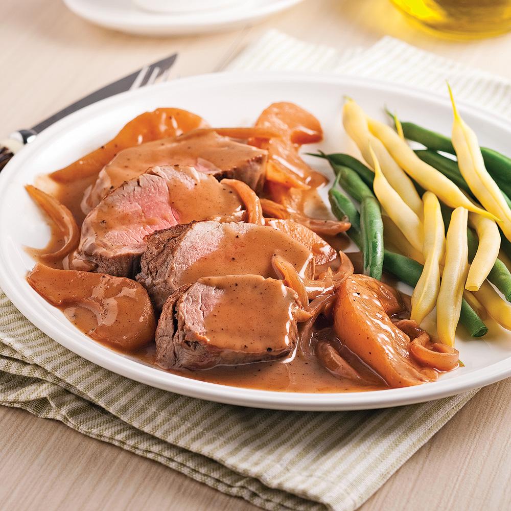 Filet de porc aux poires et vin rouge soupers de semaine - Cuisiner le filet mignon de porc en cocotte ...