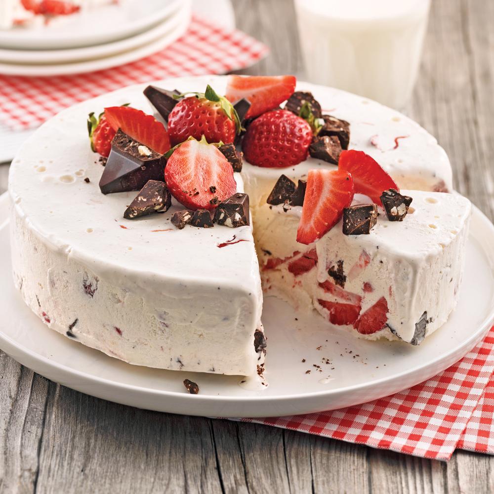 G teau glac aux fraises et chocolat desserts recettes 5 15 recettes express 5 15 - Comment faire des glaces a l eau ...