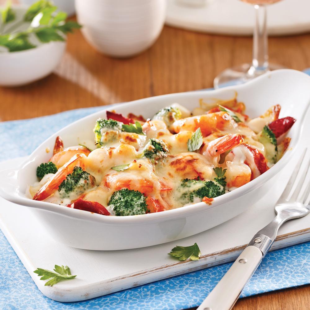 Gratin de fruits de mer et brocoli pour recevoir - Idee repas pour recevoir ...