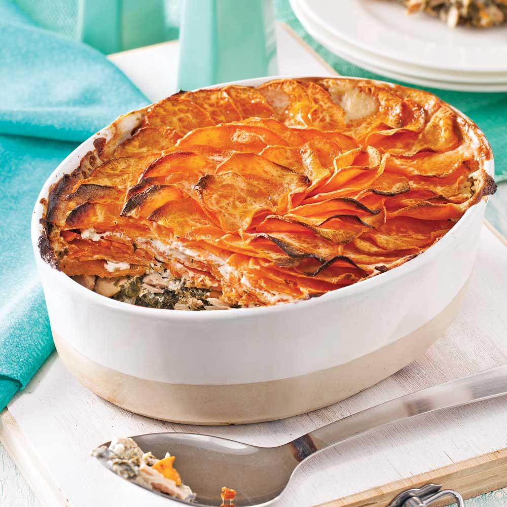 Gratin de patates douces thon et pinards soupers de semaine recettes 5 15 recettes - Recette poulet patate douce ...
