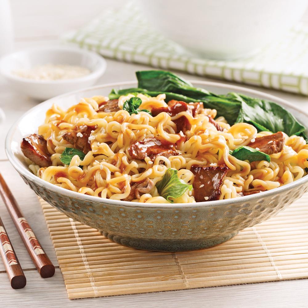 Nouilles asiatiques au boeuf et bok choys   soupers de semaine ...