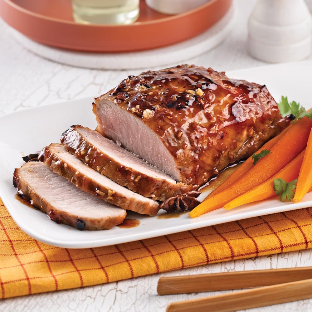 R ti de porc caram lis l 39 asiatique soupers de semaine - Cuisiner roti de porc ...