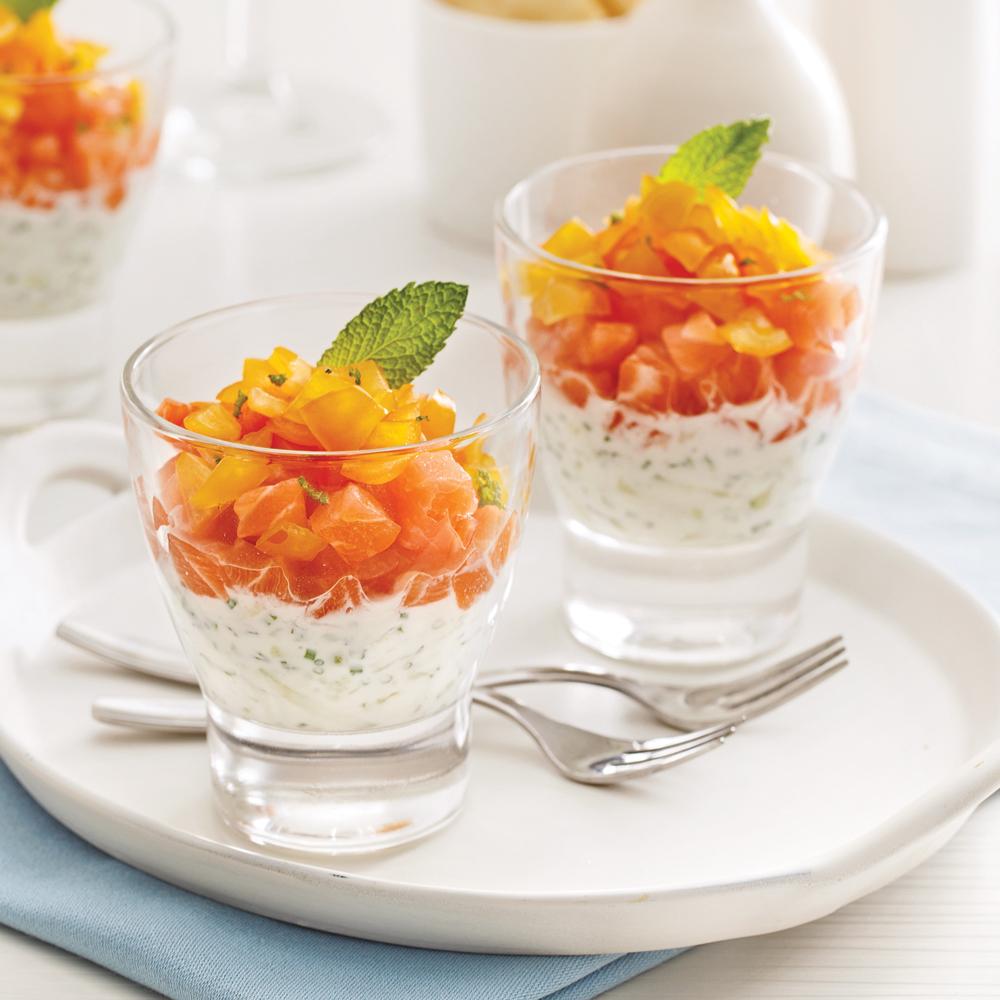 Verrines de saumon et tzatziki entr es et soupes recettes 5 15 recettes express 5 15 - Entree de fete facile et pas cher ...